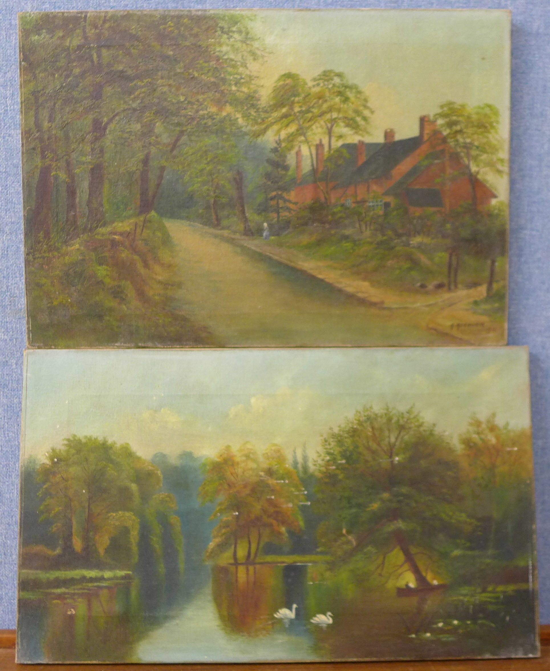 Lot 11 - Three English School oil paintings, landscapes,