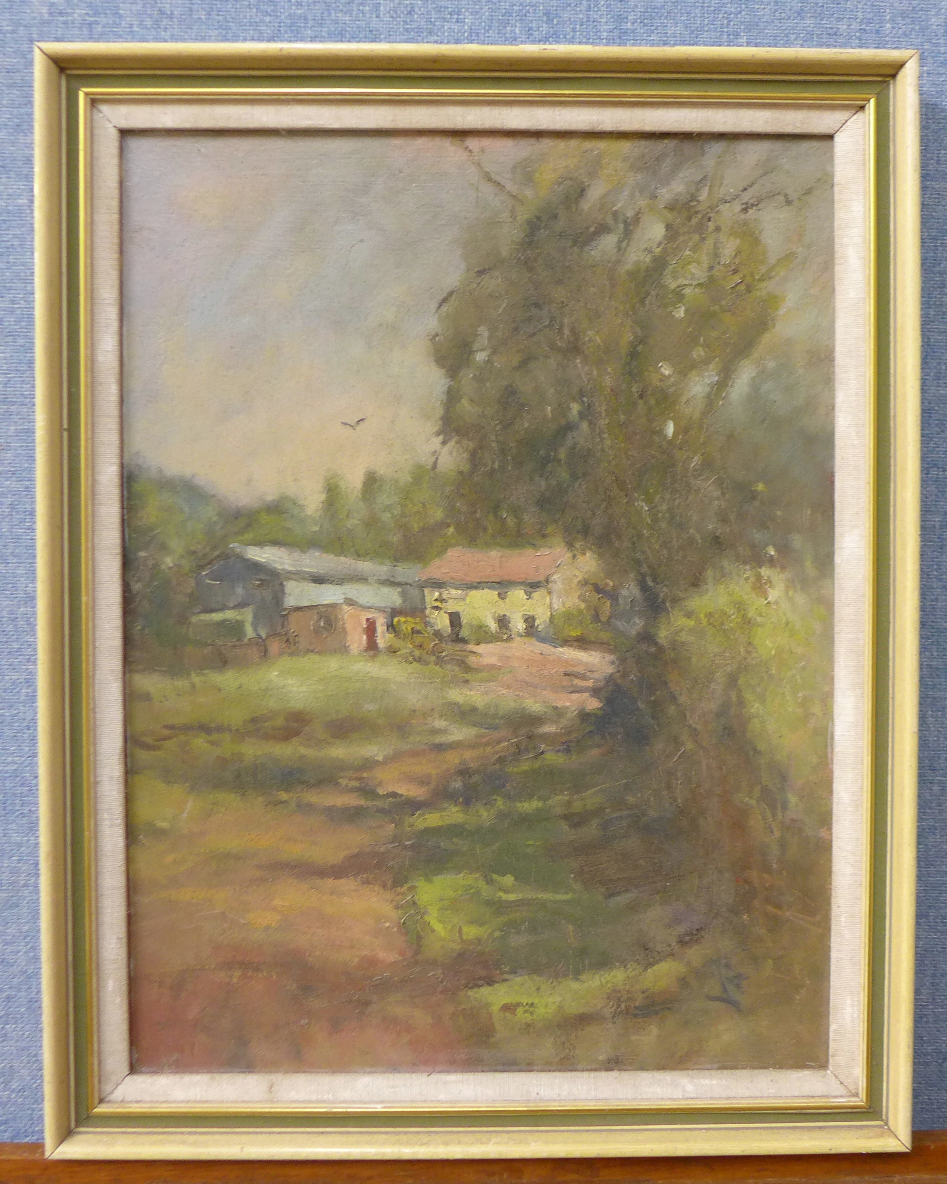Lot 12 - John Richards, Horse Farm, Cresswell, oil on panel,