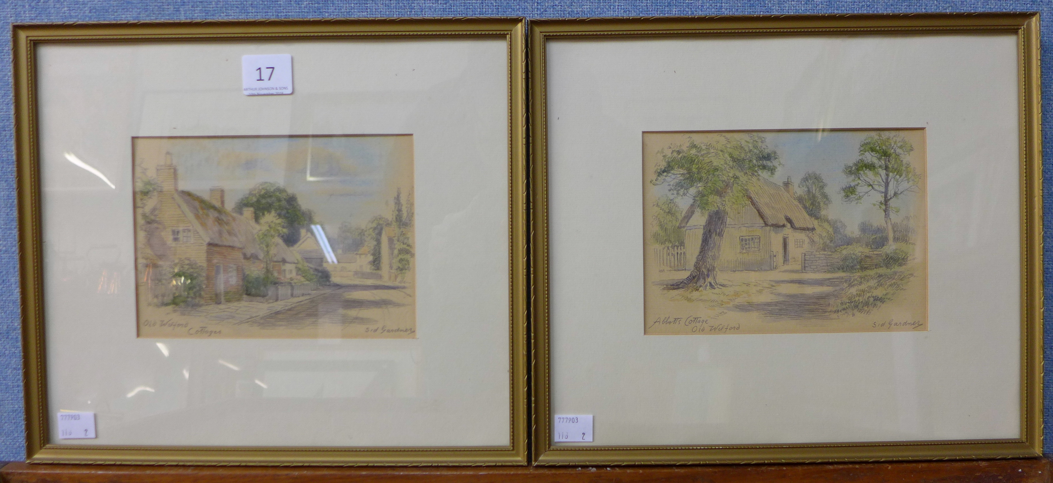 Lot 17 - Sid Gardner, pair of cottage landscapes, Wilford, Nottinghamshire, watercolour,