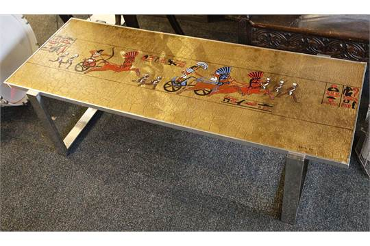 A 1960 S Italian Coffee Table With Single Ceramic Tile Top Decorated With Ancient Egyptian Scene