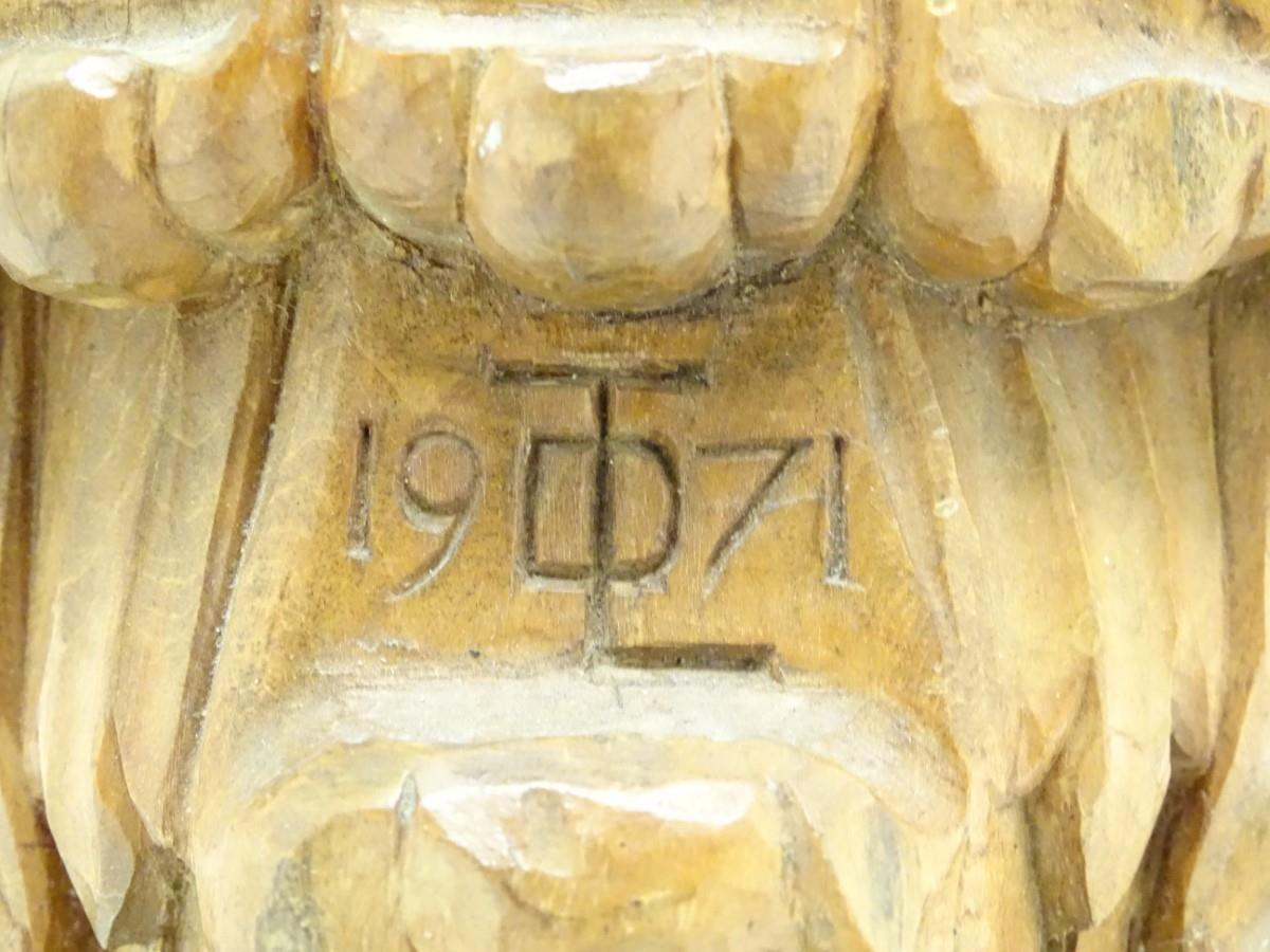 A 20thC carved wooden sculpture titled Tragic Muse to base, monogrammed TD and dated 1971 to side. - Image 12 of 17