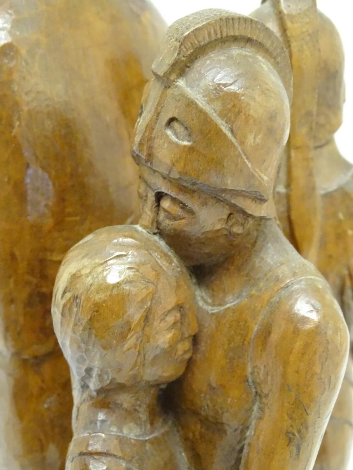 A 20thC carved wooden sculpture titled Tragic Muse to base, monogrammed TD and dated 1971 to side. - Image 14 of 17