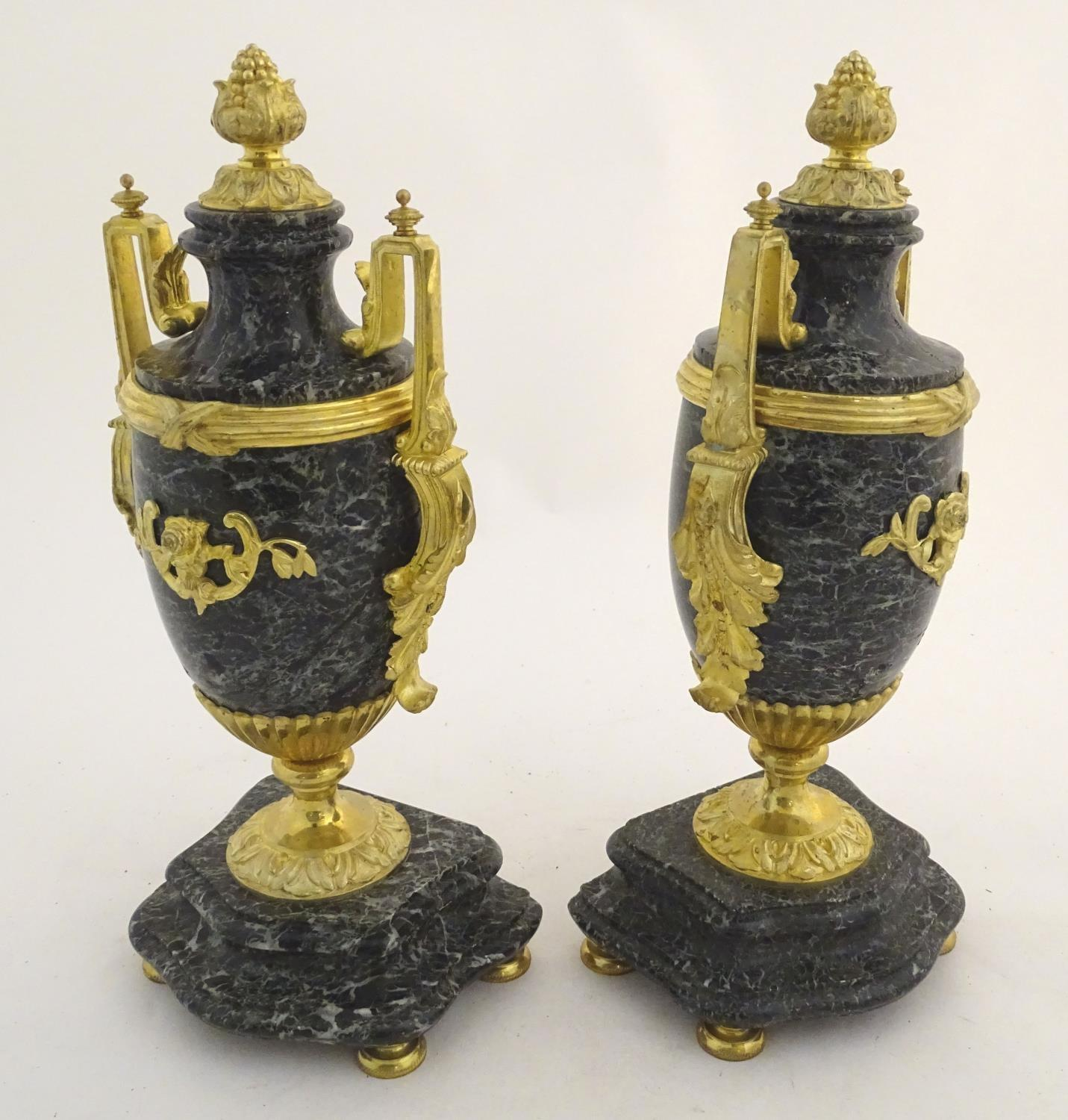 A pair of late 19thC grey marble garnitures of urn form with gilt metal handles and mounts. - Image 8 of 24