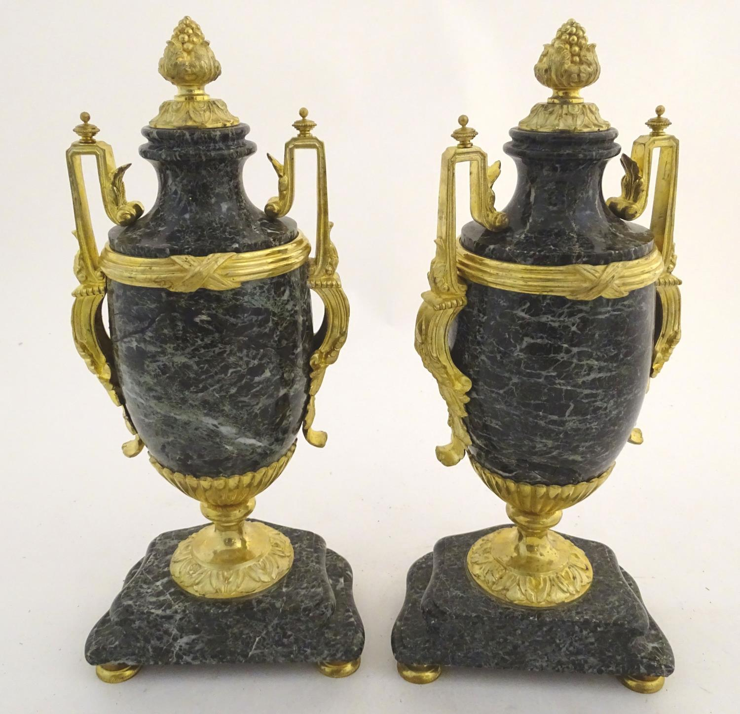 A pair of late 19thC grey marble garnitures of urn form with gilt metal handles and mounts. - Image 24 of 24