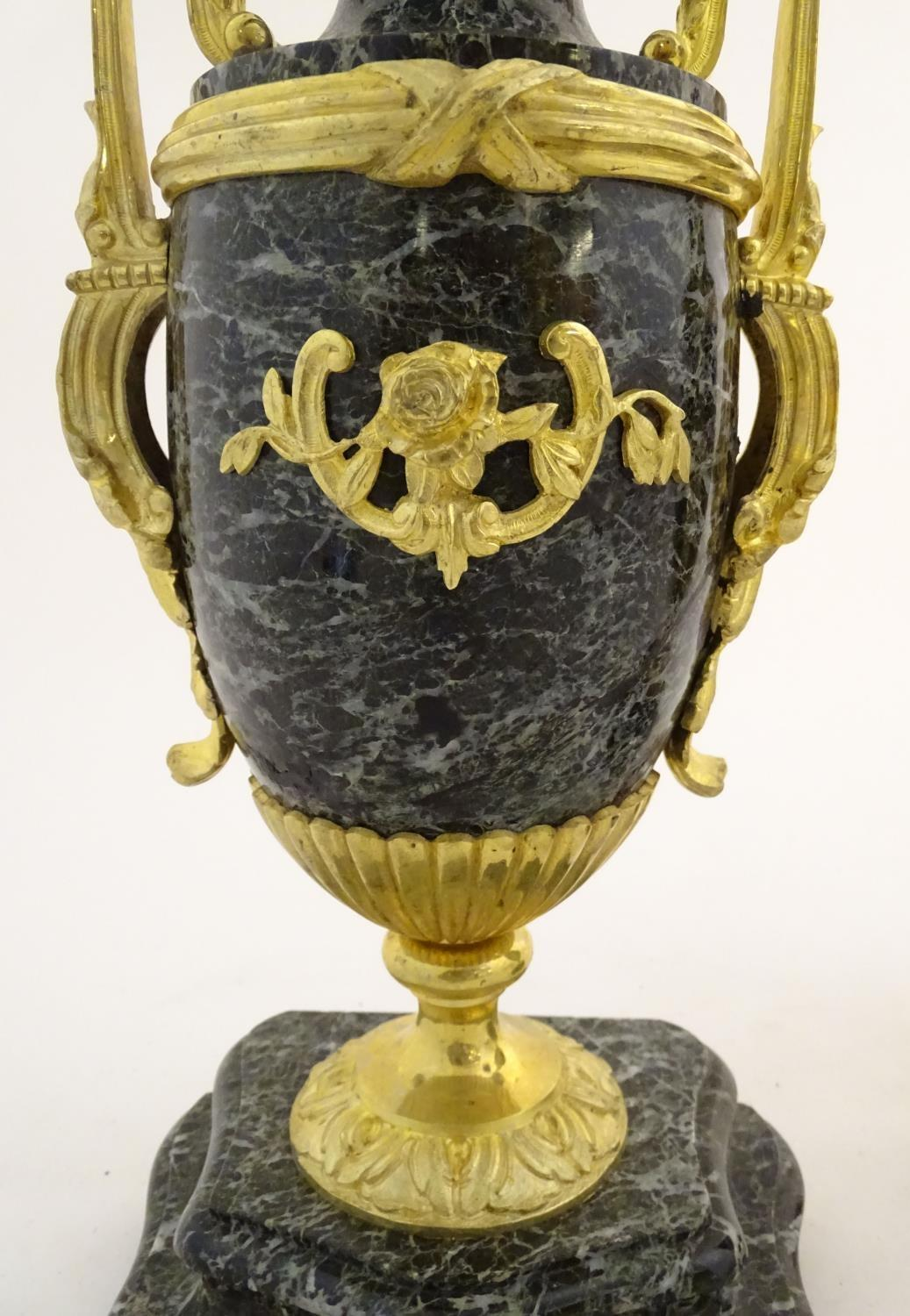 A pair of late 19thC grey marble garnitures of urn form with gilt metal handles and mounts. - Image 18 of 24