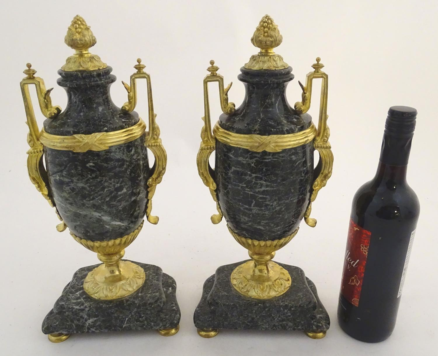 A pair of late 19thC grey marble garnitures of urn form with gilt metal handles and mounts. - Image 2 of 24