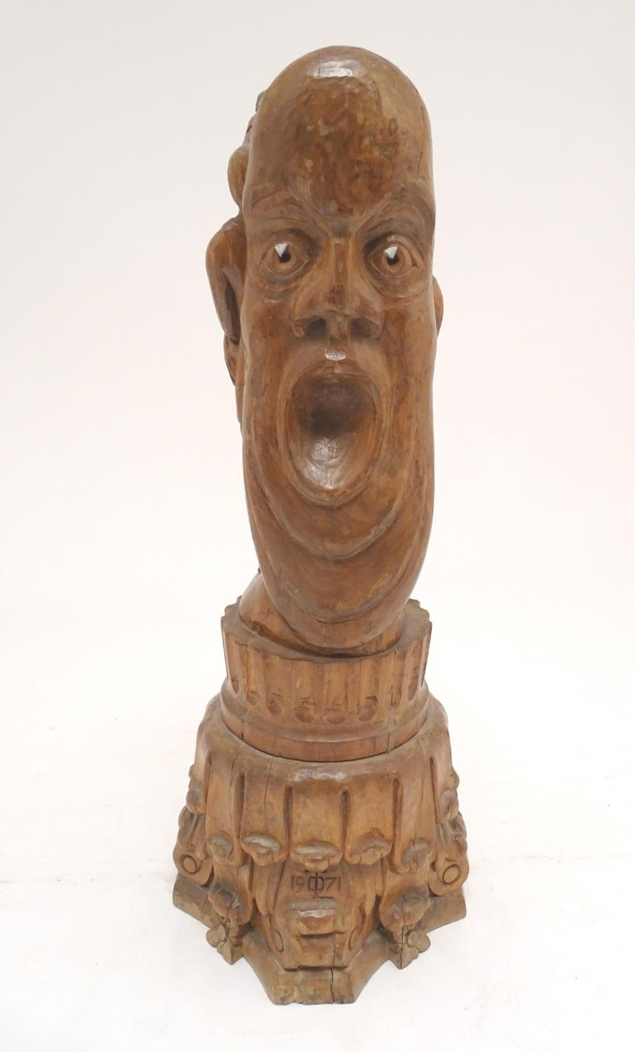 A 20thC carved wooden sculpture titled Tragic Muse to base, monogrammed TD and dated 1971 to side. - Image 8 of 17