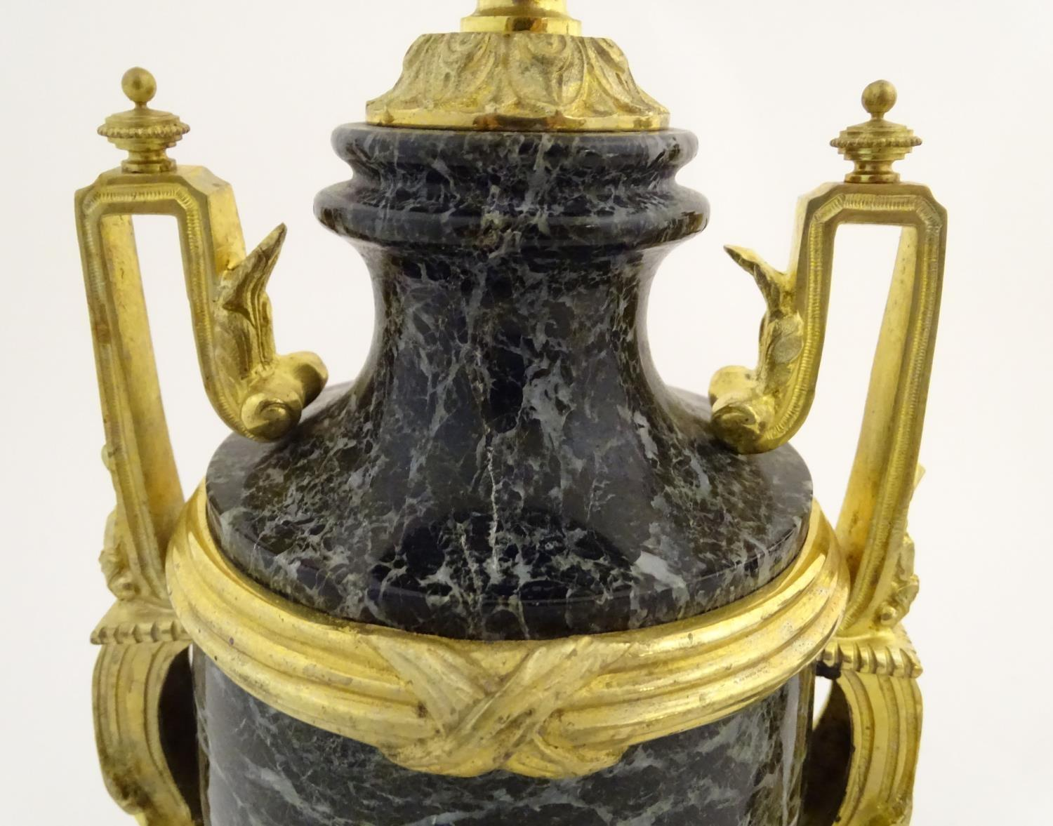 A pair of late 19thC grey marble garnitures of urn form with gilt metal handles and mounts. - Image 15 of 24