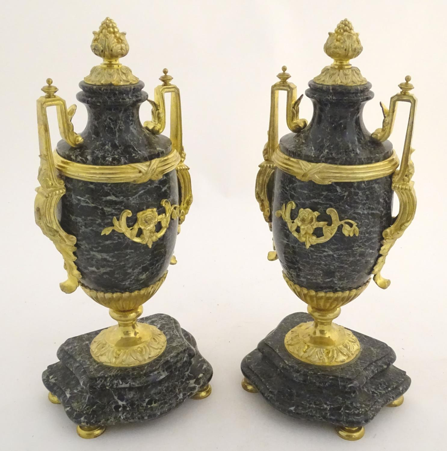 A pair of late 19thC grey marble garnitures of urn form with gilt metal handles and mounts. - Image 7 of 24