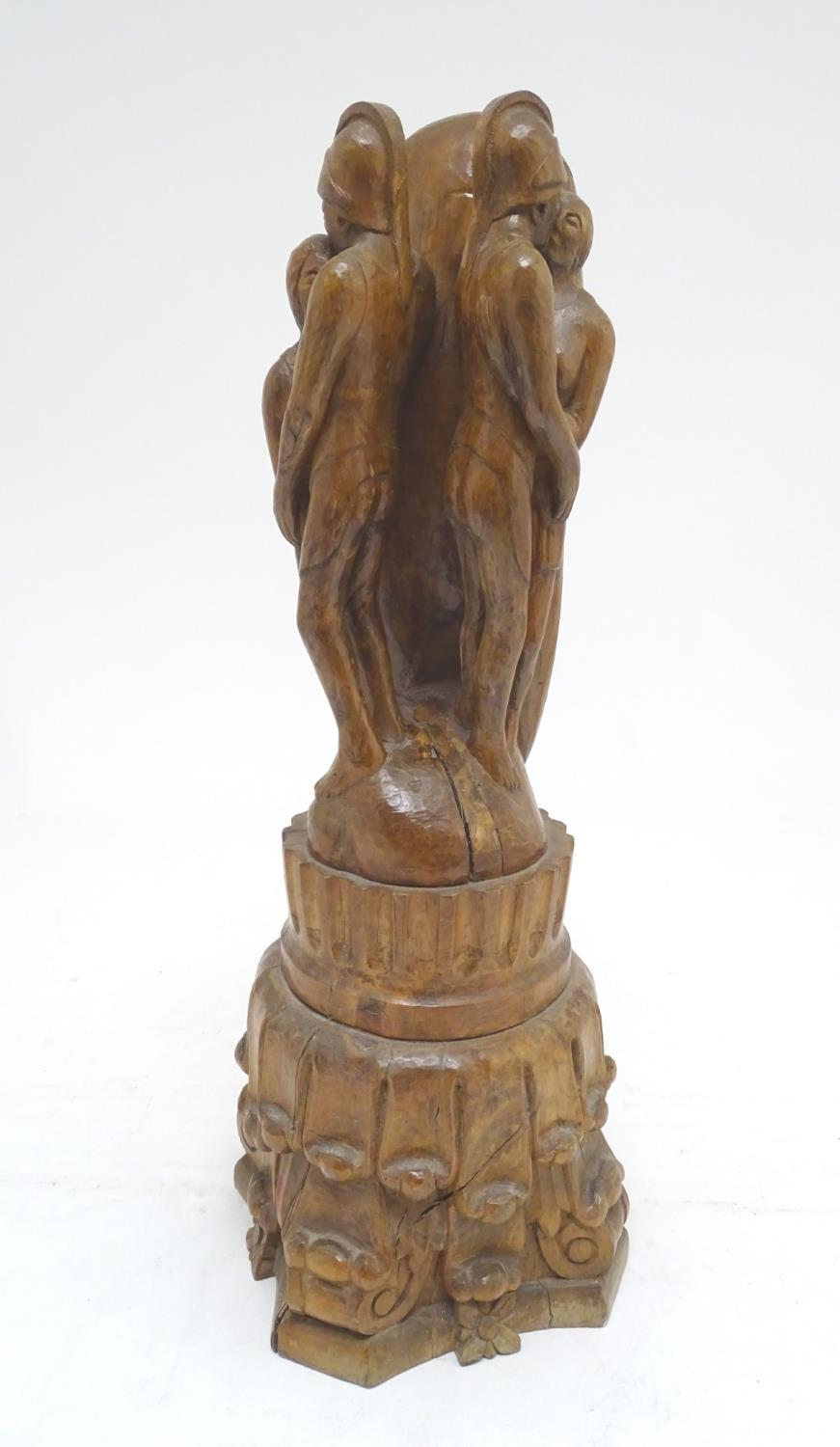 A 20thC carved wooden sculpture titled Tragic Muse to base, monogrammed TD and dated 1971 to side. - Image 4 of 17