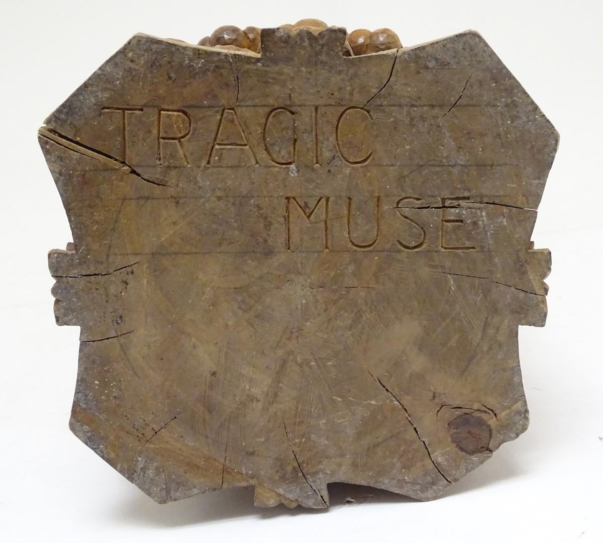 A 20thC carved wooden sculpture titled Tragic Muse to base, monogrammed TD and dated 1971 to side. - Image 2 of 17