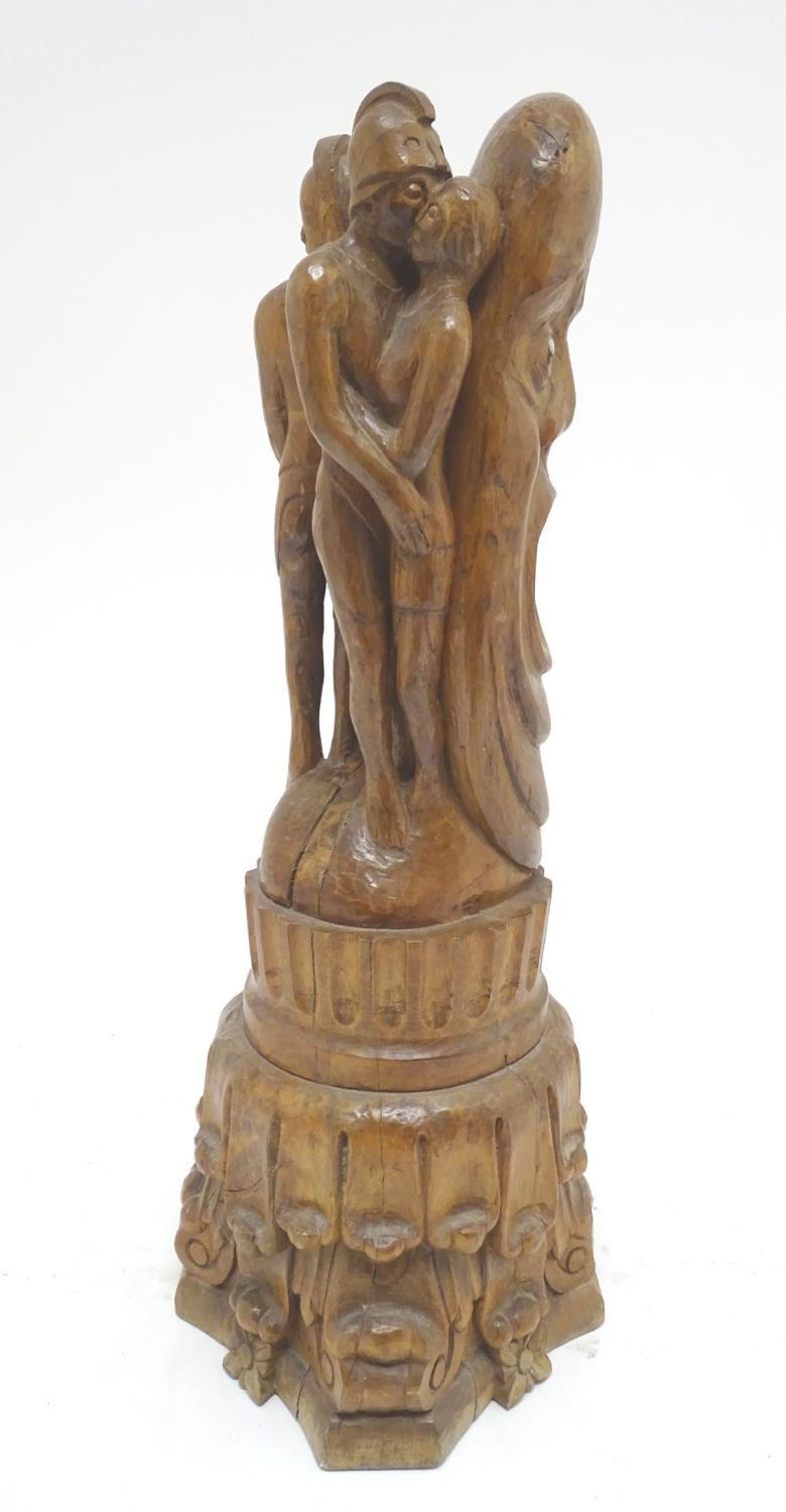 A 20thC carved wooden sculpture titled Tragic Muse to base, monogrammed TD and dated 1971 to side. - Image 6 of 17