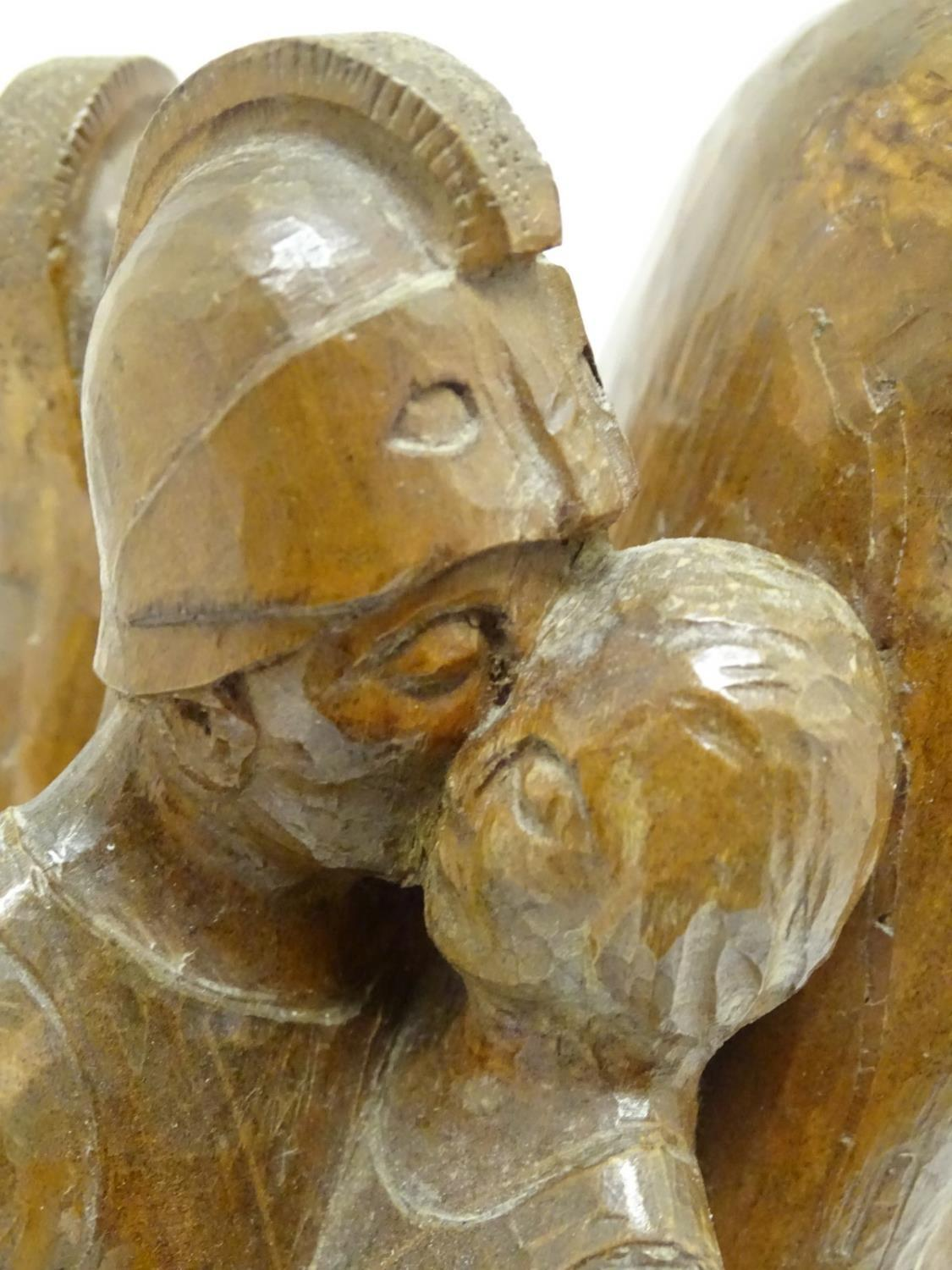 A 20thC carved wooden sculpture titled Tragic Muse to base, monogrammed TD and dated 1971 to side. - Image 17 of 17