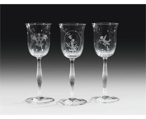 Michael Powolny (Entwurf) und August Helzel (Schnitt) 3 Stielgläser, J. & L. Lobmeyr, Wien, um 1914 farbloses Glas, gesc