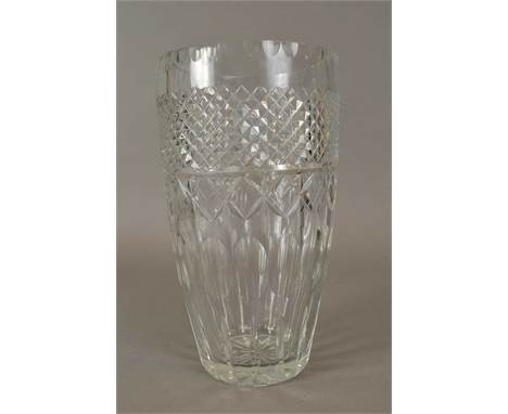 A large Baccarat cut glass crystal vase with hobnail, star-cut and faceted decoration, acid-etched 'Baccarat, France' mark to