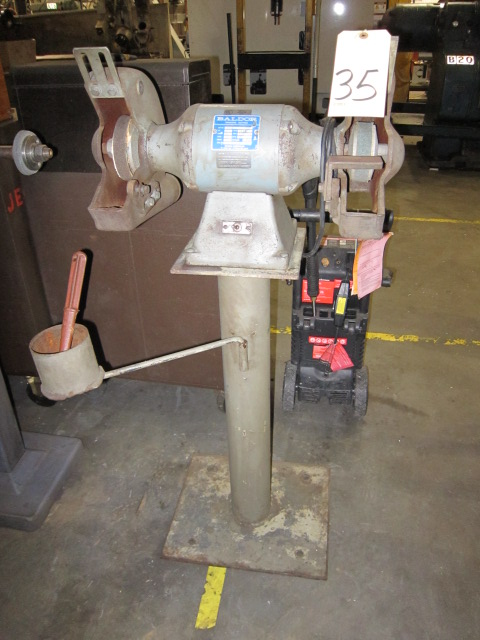 "Lot 35 - DOUBLE END PEDESTAL GRINDER, BALDOR 10"", 1 HP motor"