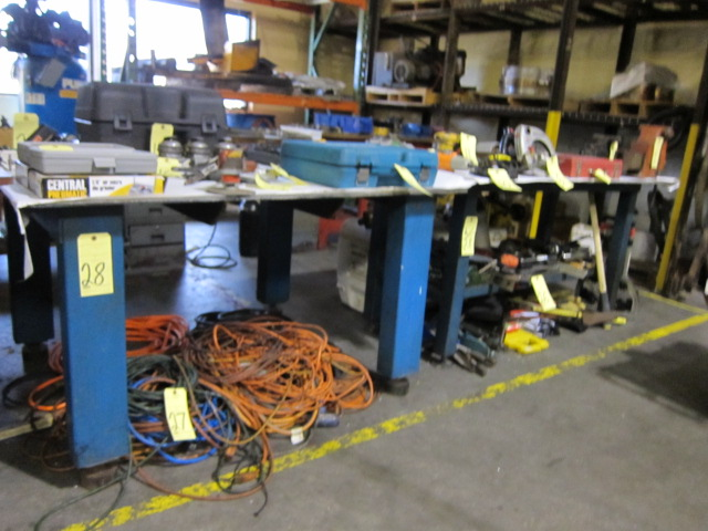 "Lot 28 - LOT OF STEEL WORKTABLES (2): 60"" x 48"" & 71"" x 36"" (tables can not be removed until contents have"