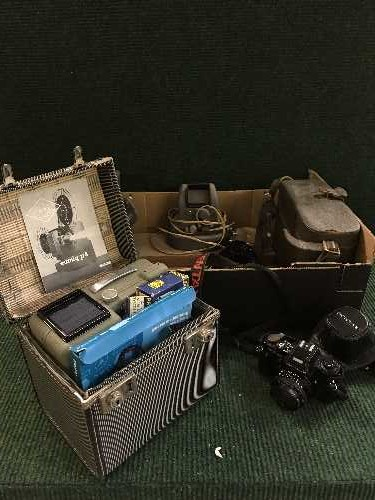 Lot 38 - A box of Pentax programme A camera with lens , boxed Eumig P8 projector,