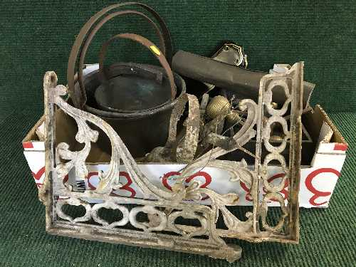 Lot 14 - A box of two jam pans, two cast iron metal wall brackets, door plates,