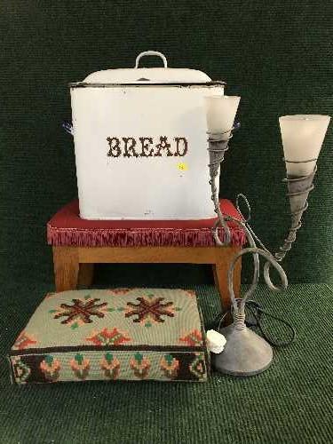 Lot 55 - Two upholstered footstools, an enamel bread bin,