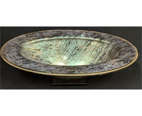 An Iarge Italian glass bowl, signed Salviati to base, H.15cm L.54cm