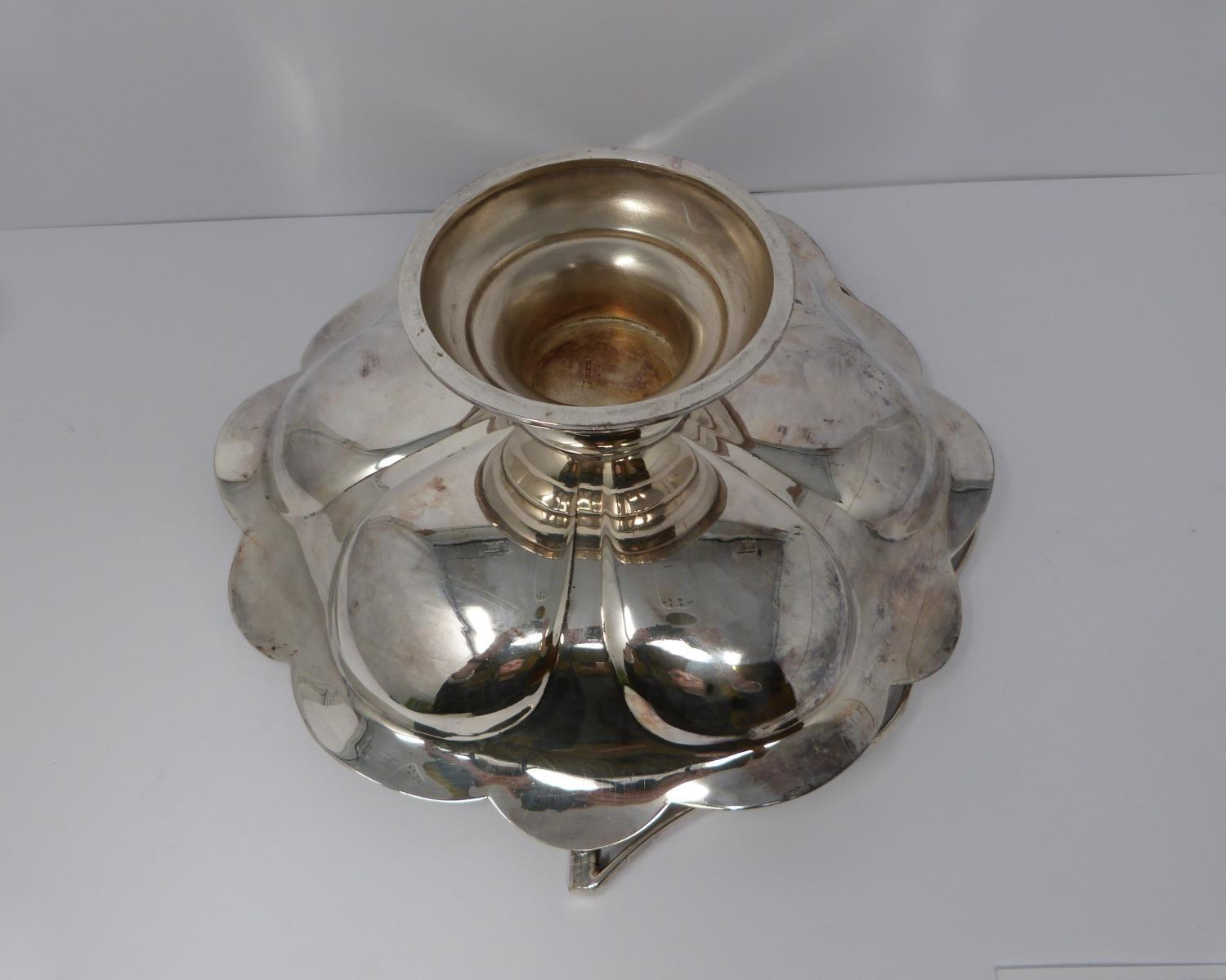 A silver plated cake stand, handled basket and two tankards, basket stamped EPNS, 13694, flower form - Image 4 of 12