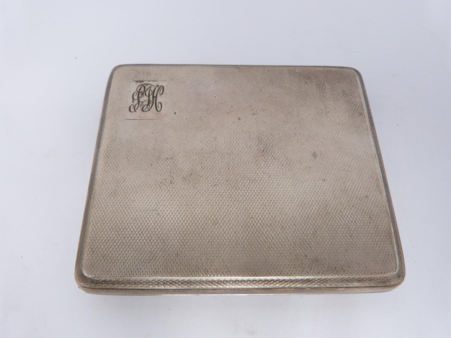 Two silver cigarette cases and a silver cigarette box, rectangular engine turned decoration case, - Image 9 of 14