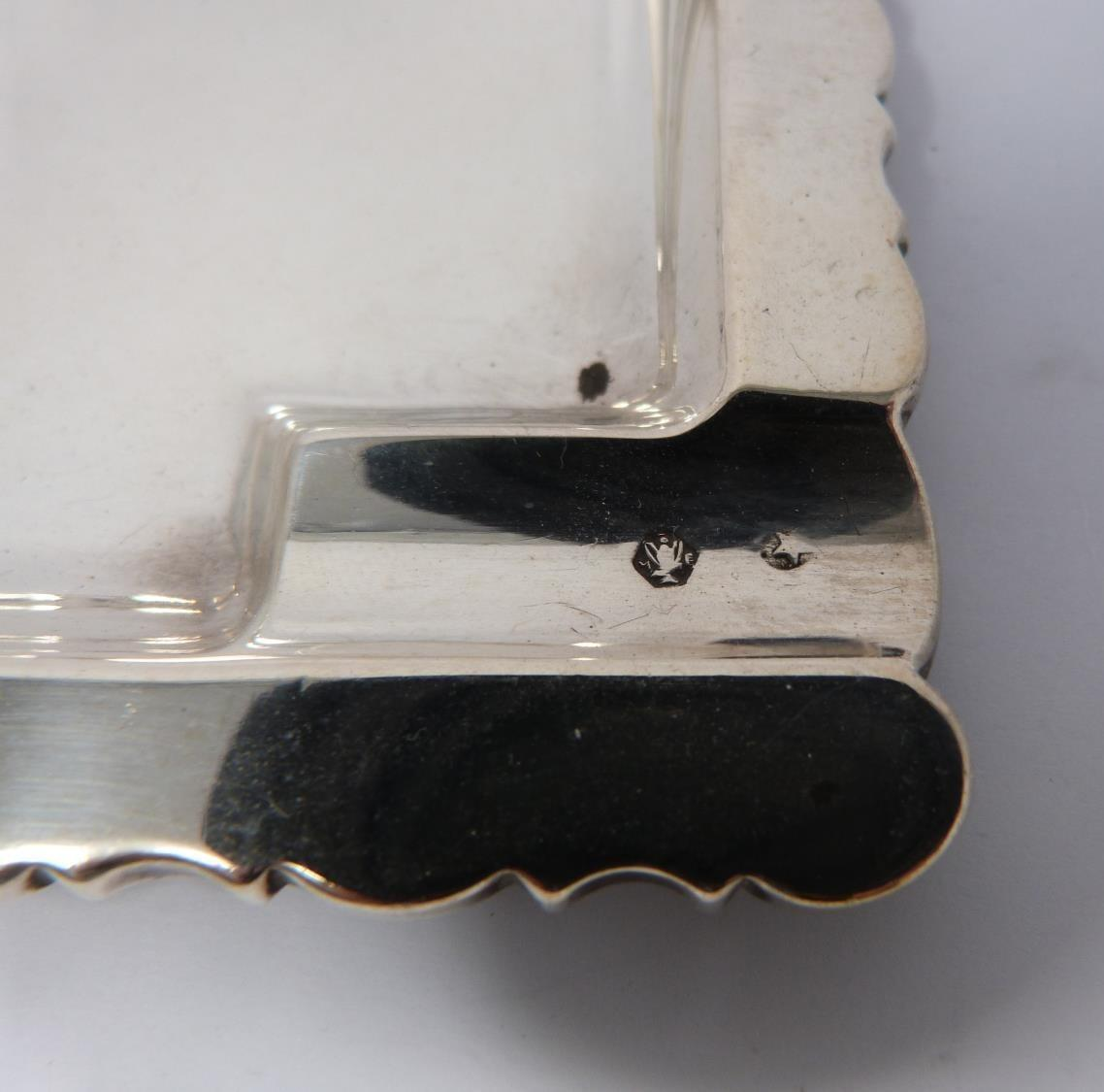 Three silver ash trays, a silver lidded box, silver salt and silver plated floral dishes, box: - Image 4 of 7