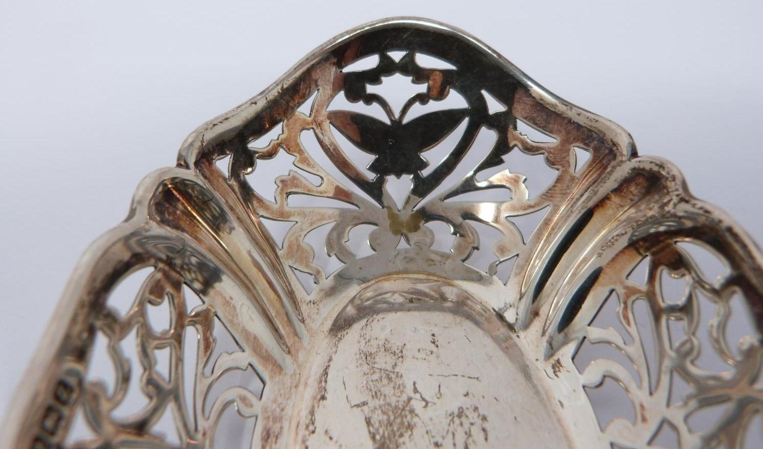 A collection of silver and white metal items including, trays and dishes, two pierced dishes one - Image 8 of 13