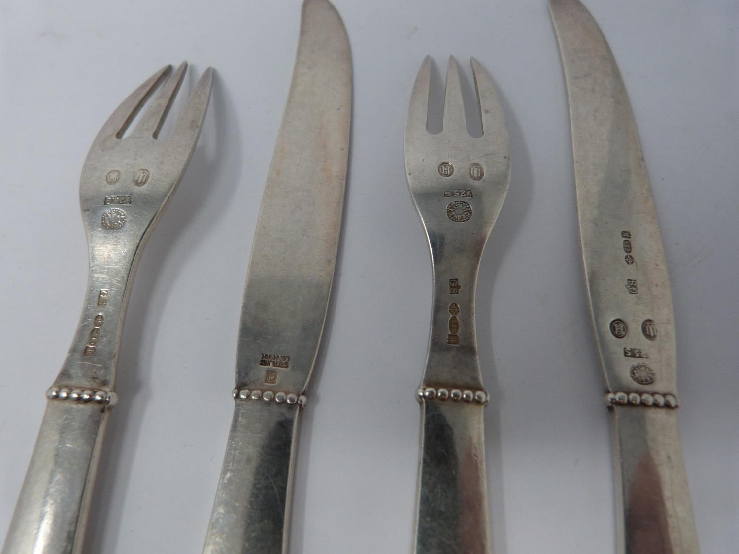 A Georg Jensen silver knife and fork set, full Danish hallmarked and makers mark for Georg - Image 3 of 5