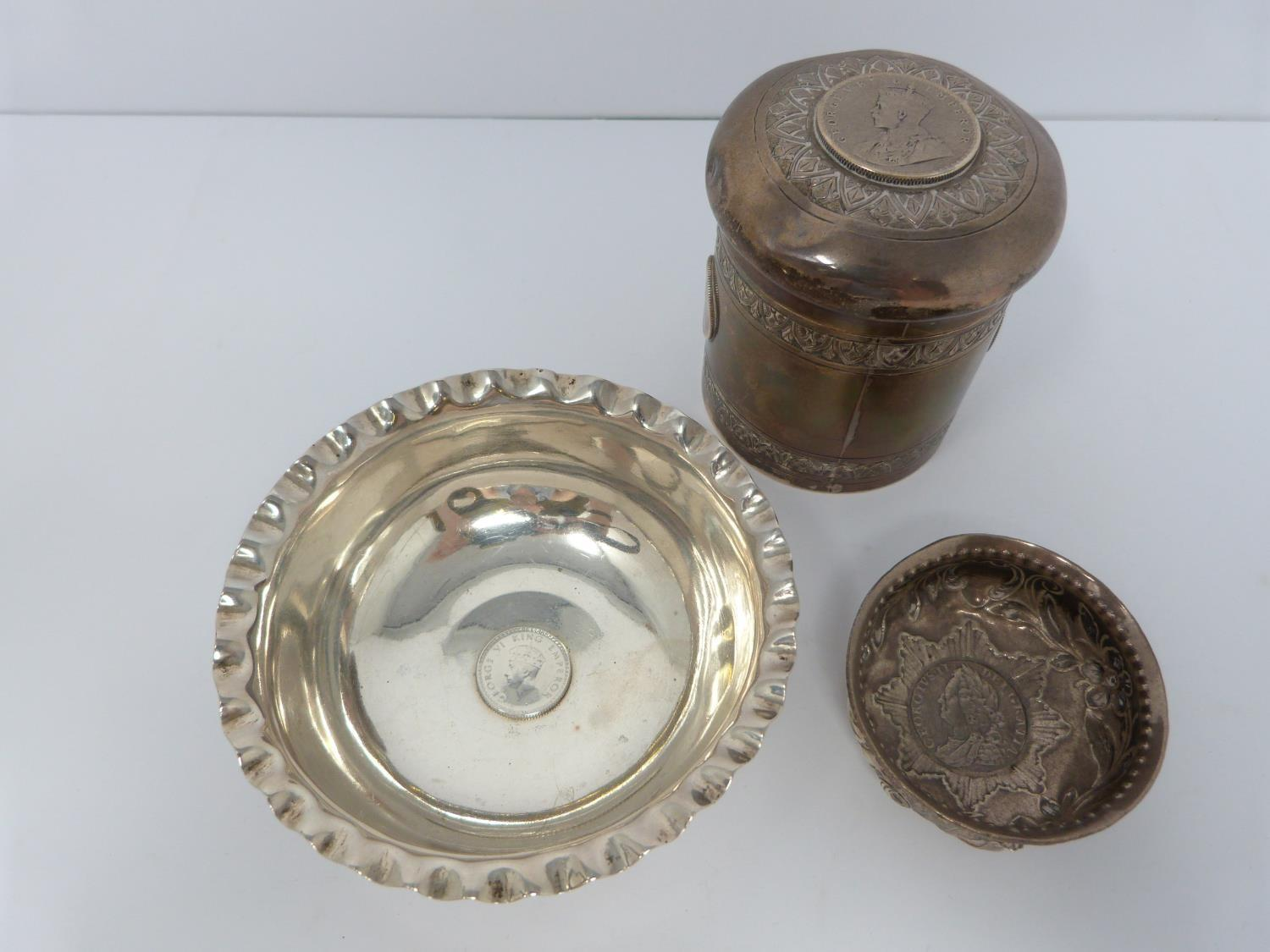 A collection of white metal dishes and a box decorated with coins and a silver and horn twist handle - Image 3 of 13