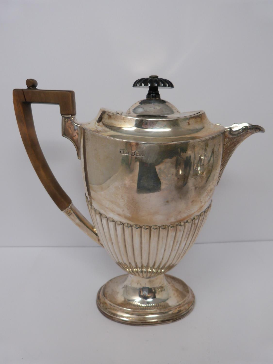 Two Victorian silver tea pots and a silver water jug, Sheffield, London and Sheffield, 1903, - Image 2 of 8