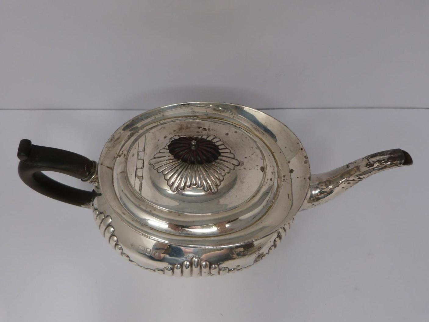 Two Victorian silver tea pots and a silver water jug, Sheffield, London and Sheffield, 1903, - Image 8 of 8