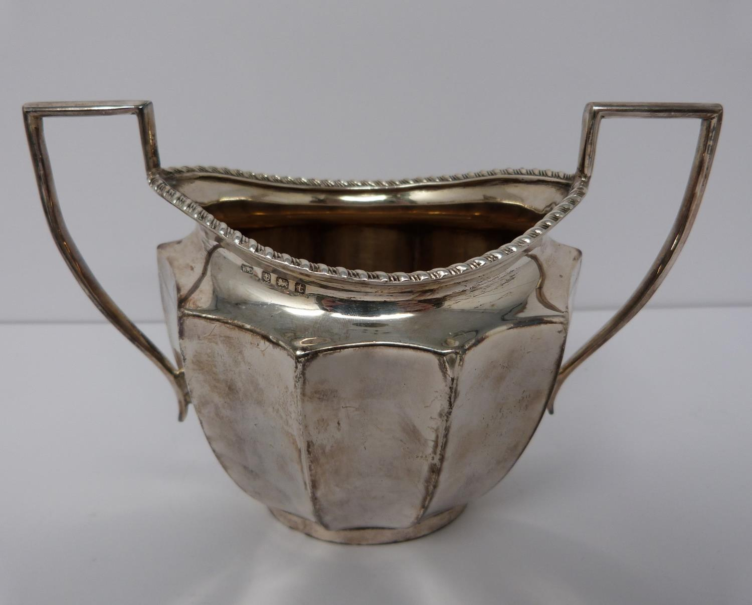 A silver six piece tea service with ebony handles and finial, coffee pot, tea pots, water jug, two - Image 7 of 10
