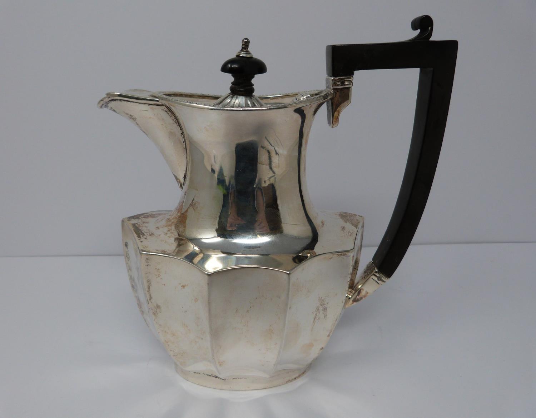A 3 piece silver service; coffee pot, water jug and large tea pot, coffee pots William Devenport, - Image 5 of 11
