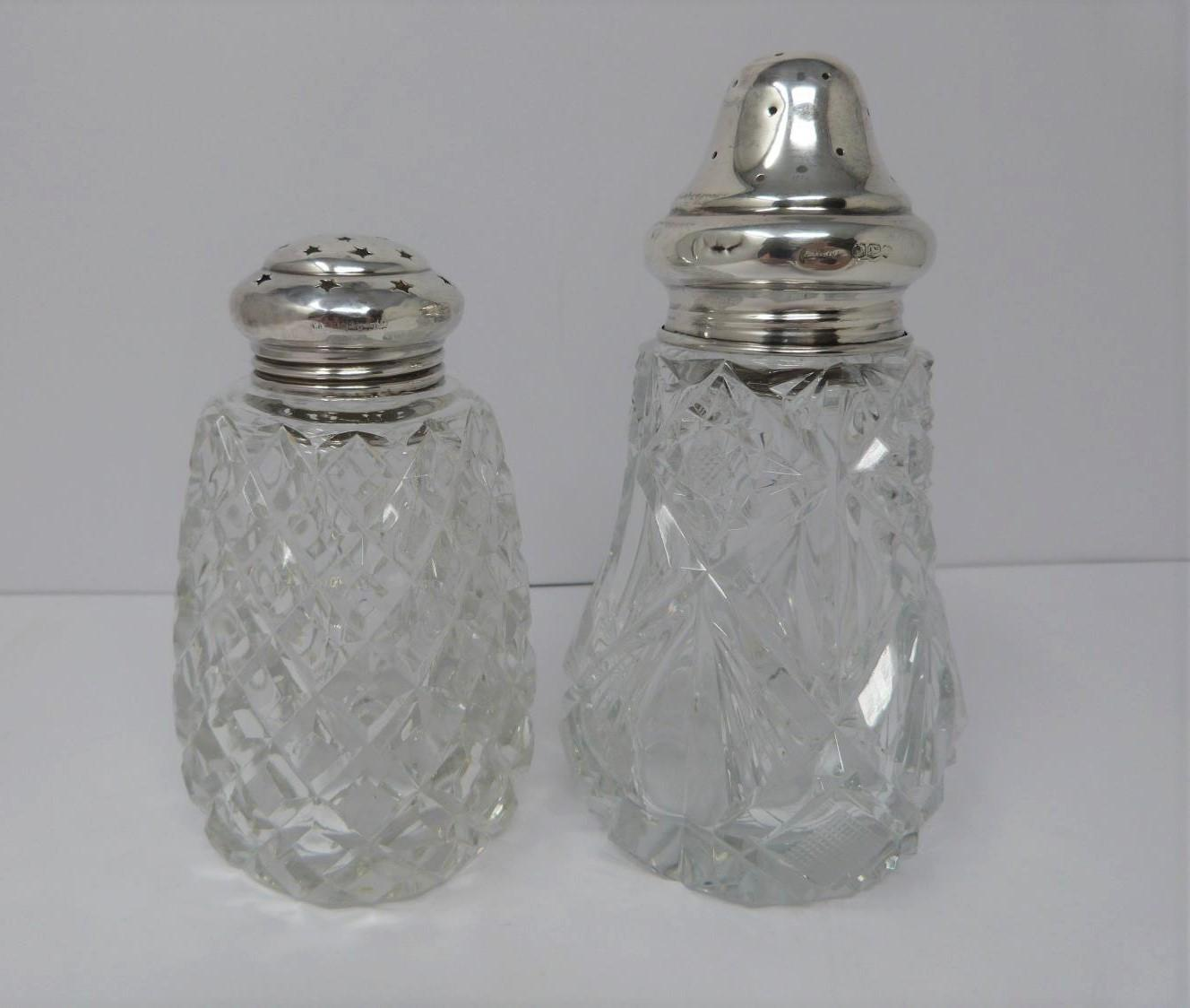 Two silver and cut glass sugar sifters, two silver pierced dishes and a silver engraved napkin ring, - Image 2 of 7