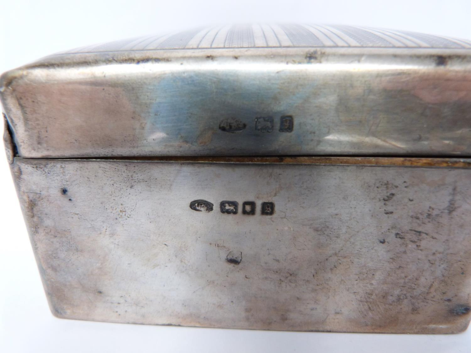 Two silver cigarette cases and a silver cigarette box, rectangular engine turned decoration case, - Image 5 of 14