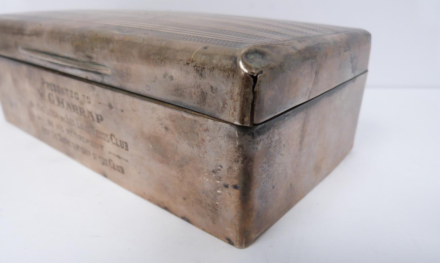 Two silver cigarette cases and a silver cigarette box, rectangular engine turned decoration case, - Image 7 of 14