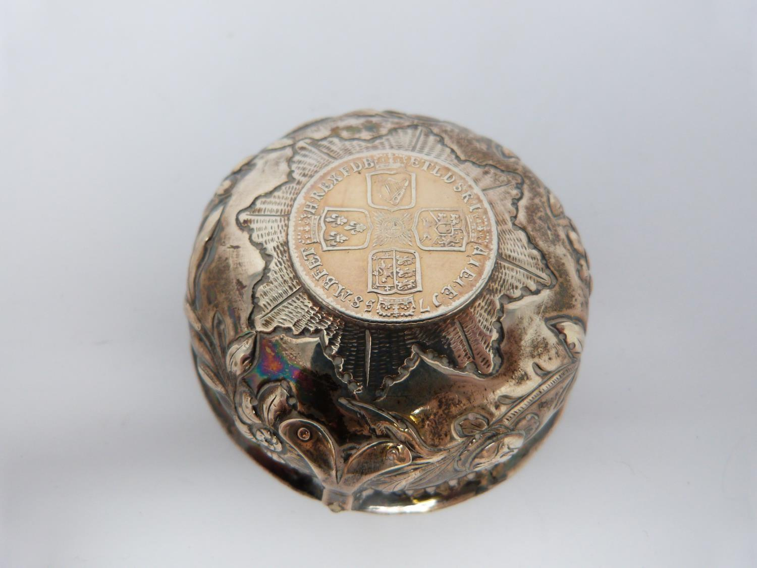 A collection of white metal dishes and a box decorated with coins and a silver and horn twist handle - Image 6 of 13