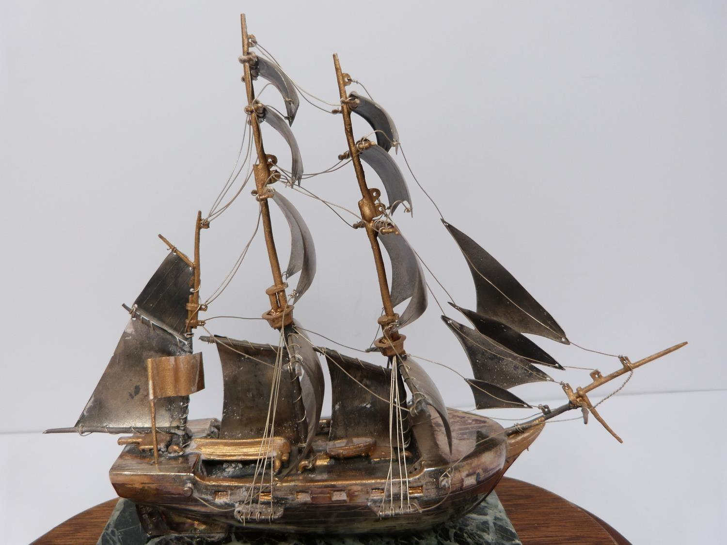 A silver model of the HMS Beagle 1831 in presentation case, 574/1000, mounted on alabaster base, A - Image 5 of 6