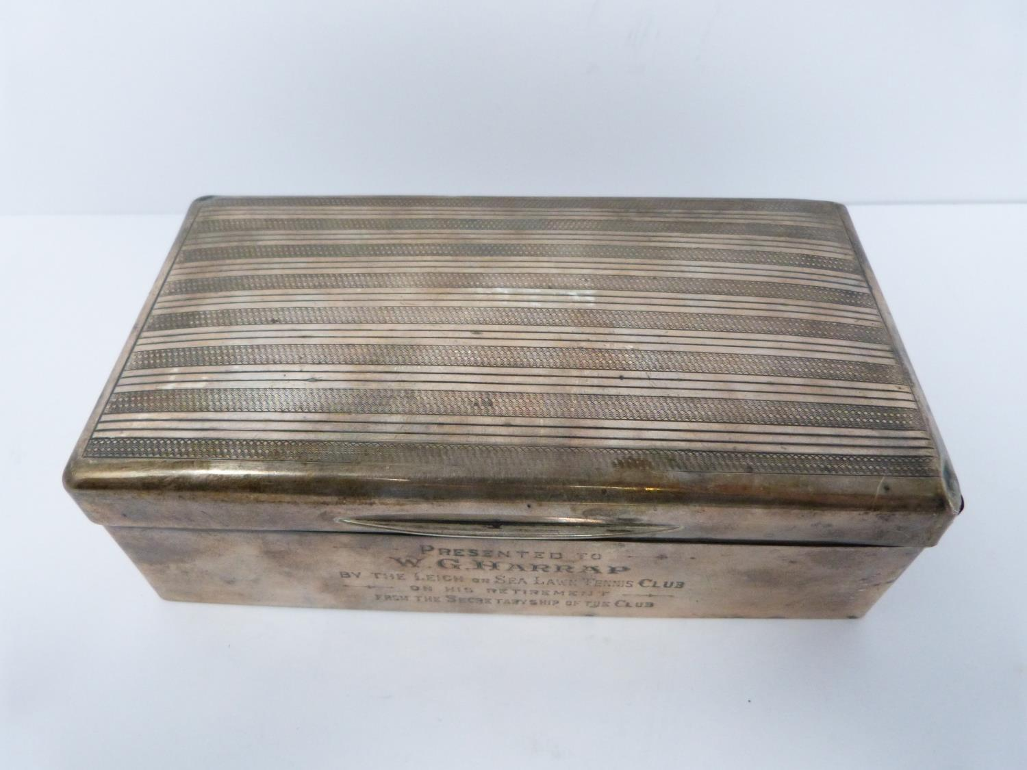 Two silver cigarette cases and a silver cigarette box, rectangular engine turned decoration case, - Image 3 of 14