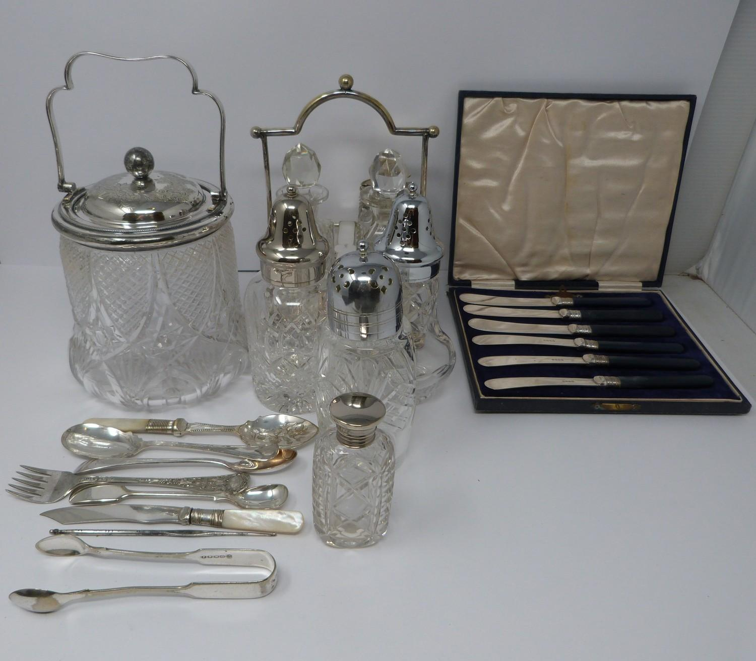Collection of silver plate including, cruet, cut glass buiscuit barrel, cased butter and cut glass