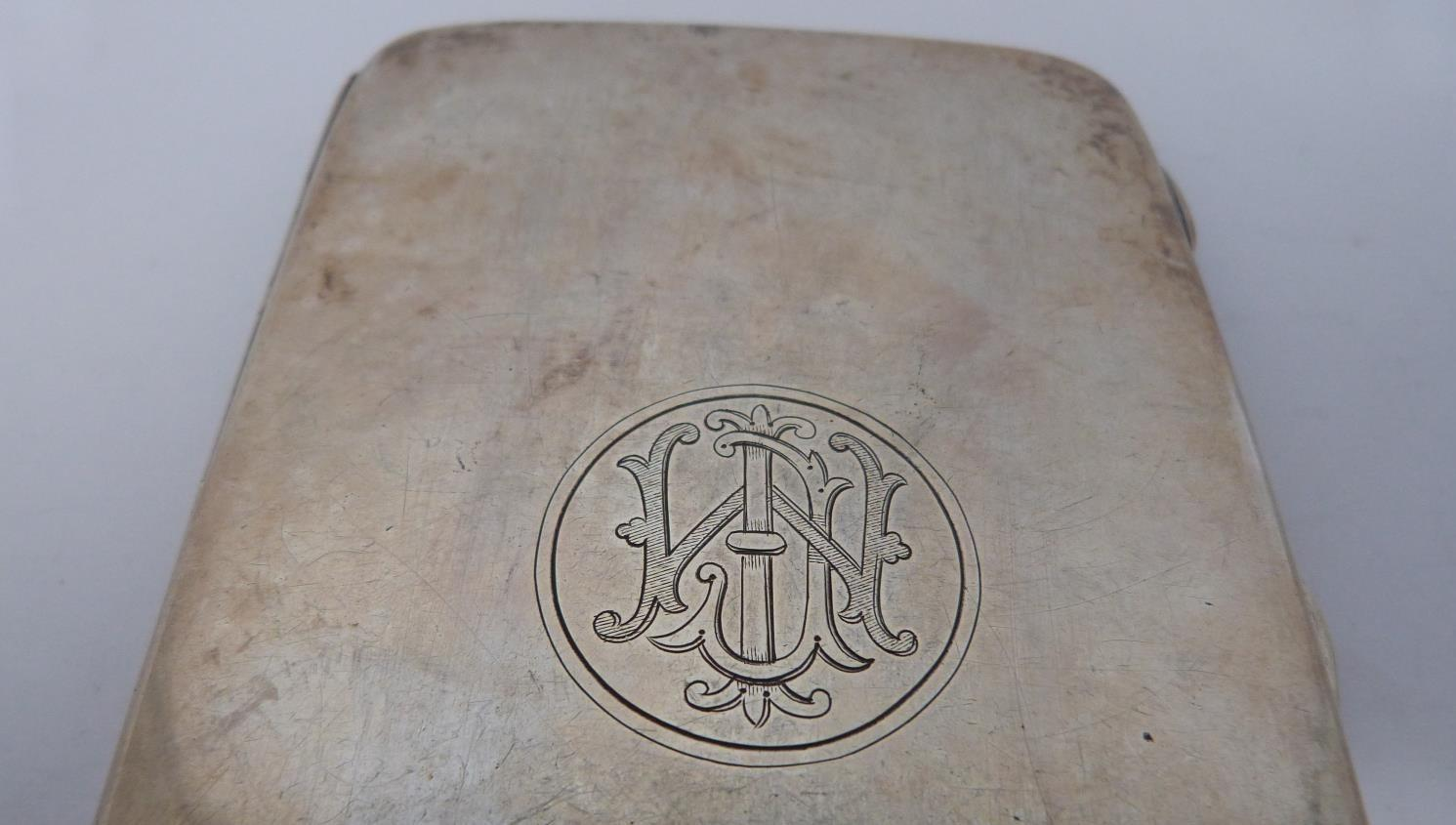Three monogrammed silver cigarette cases, large case, birmingham 1920, Charles S Green & Co Ltd. - Image 5 of 10