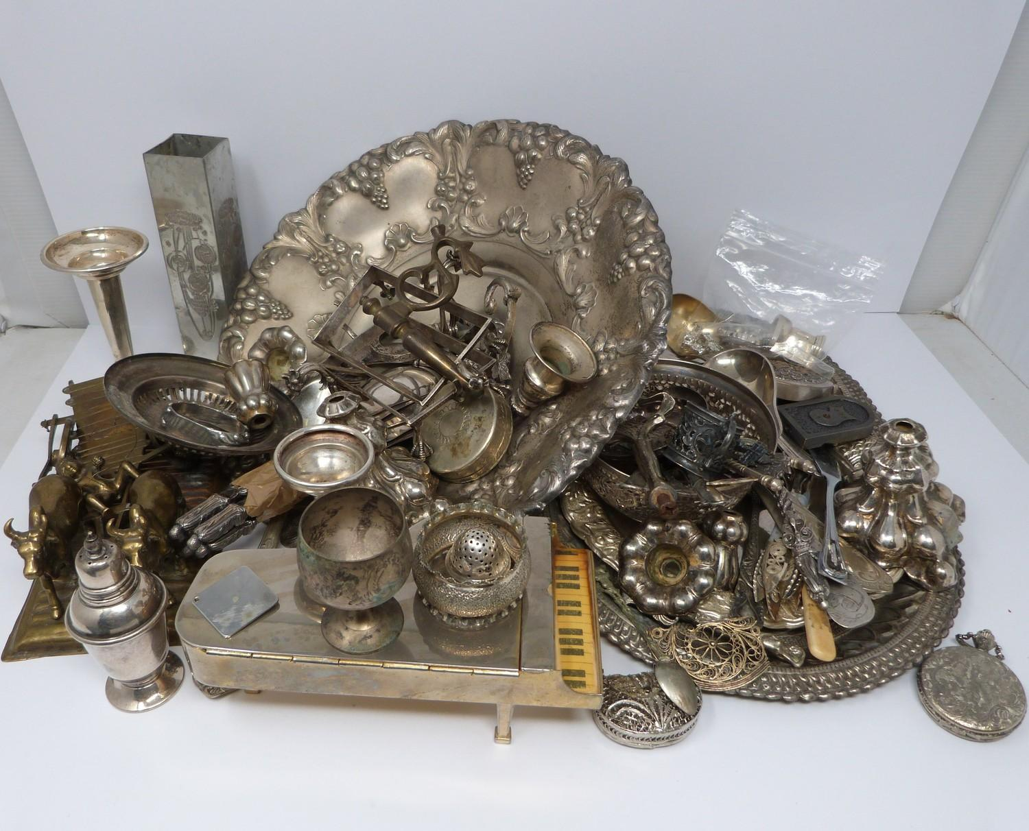 A collection of silver plate and other metalware including, trays, apostle spoons, bowls and cutlery