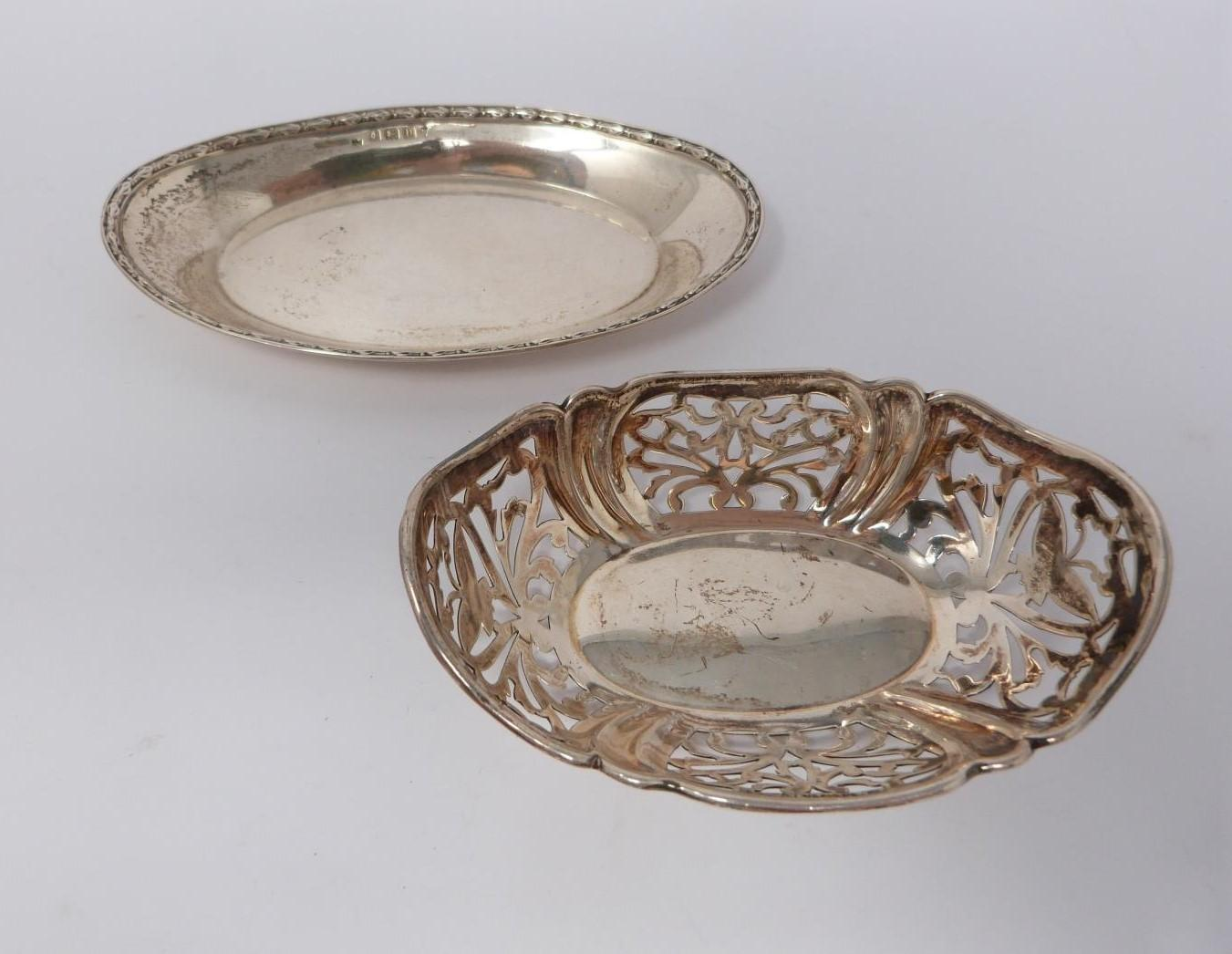 A collection of silver and white metal items including, trays and dishes, two pierced dishes one - Image 5 of 13