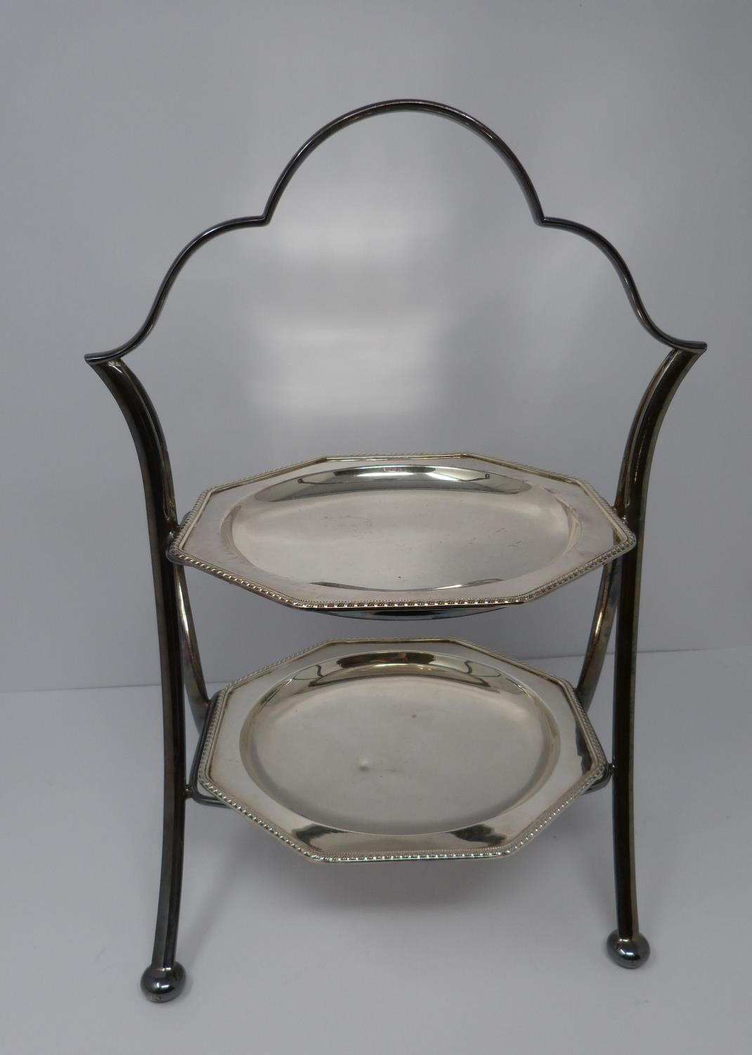 A silver plated cake stand, handled basket and two tankards, basket stamped EPNS, 13694, flower form - Image 3 of 12