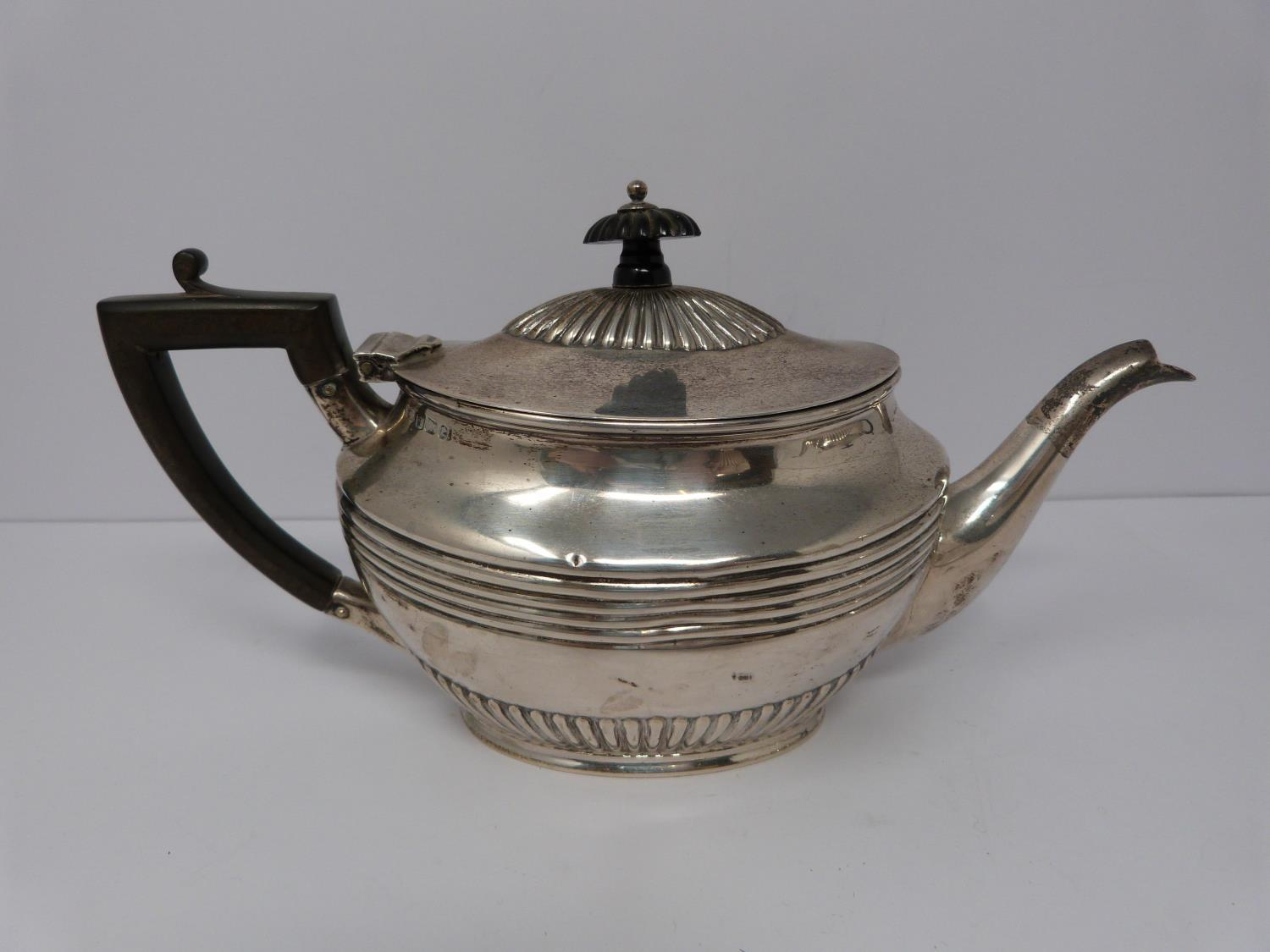 Two Victorian silver tea pots and a silver water jug, Sheffield, London and Sheffield, 1903, - Image 4 of 8