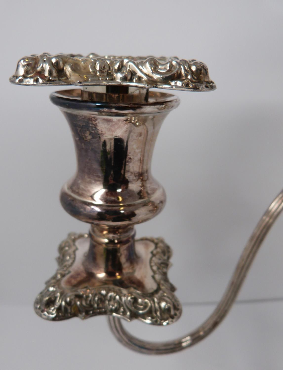 A pair of silver plated candelabra. Repoussé work, elegant swirled design, flame removable finial - Image 6 of 9