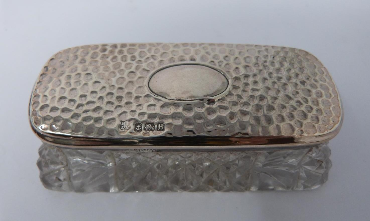 Three silver ash trays, a silver lidded box, silver salt and silver plated floral dishes, box: - Image 2 of 7