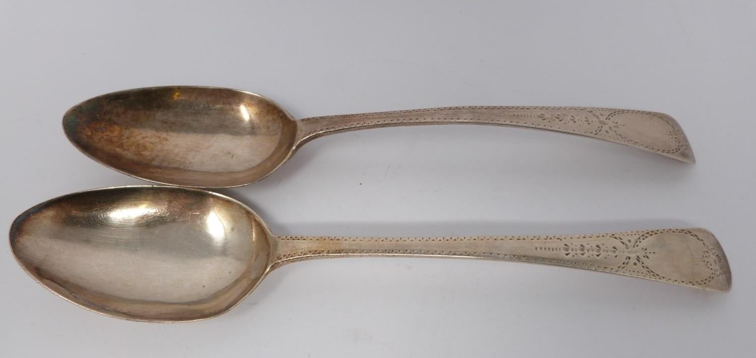 A collection of silver and white metal cutlery, including two Georgian serving spoons, 1791, ch - Image 5 of 8